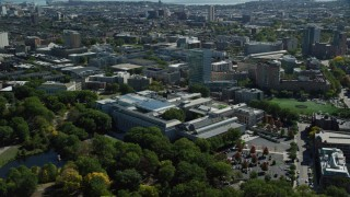 AX142_145 - 6K stock footage aerial video orbiting the Museum of Fine Arts, Boston, Massachusetts