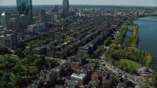 AX142_156 - 6K stock footage aerial video approaching Victorian brownstones, Back Bay, Downtown Boston, Massachusetts