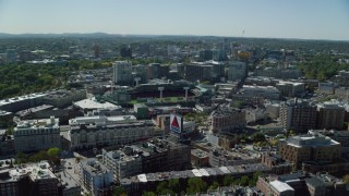 AX142_161 - 6K stock footage aerial video approaching Fenway Park, Boston, Massachusetts
