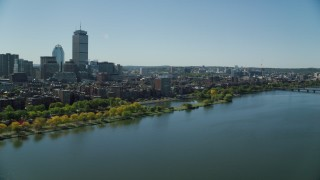 AX142_169 - 6K stock footage aerial video flying by buildings and parks, Back Bay, Downtown Boston, Massachusetts
