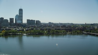 AX142_170 - 6K stock footage aerial video flying by buildings and parks, Back Bay, Downtown Boston, Massachusetts