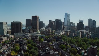 AX142_175 - 6K stock footage aerial video of Massachusetts State House, Beacon Hill, Downtown Boston, Massachusetts
