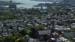AX142_183 - 6K stock footage aerial video of St. Francis De Sales Church, Bunker Hill Monument, Charlestown, Massachusetts