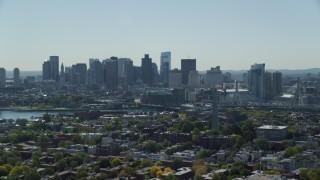 AX142_186 - 6K stock footage aerial video of Bunker Hill Monument, Downtown Boston skyline, Charlestown, Massachusetts