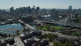 AX142_196 - 6K stock footage aerial video approaching Zakim Bridge, TD Garden, Downtown Boston, Massachusetts