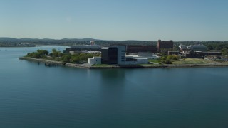 AX142_216 - 6K stock footage aerial video approaching the John F. Kennedy Presidential Library, Boston, Massachusetts