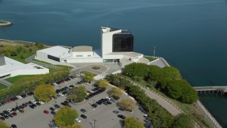 AX142_220 - 6K stock footage aerial video orbiting the John F. Kennedy Presidential Library, Boston, Massachusetts