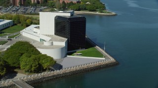 AX142_221 - 6K stock footage aerial video orbiting the John F. Kennedy Presidential Library, Boston, Massachusetts