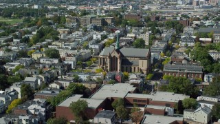 AX142_239 - 6K stock footage aerial video approaching Gate of Heaven Catholic Church, South Boston, Massachusetts