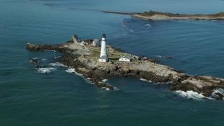 AX142_258 - 6K stock footage aerial video orbiting the Boston Light, Little Brewster Island, Boston Harbor, Massachusetts