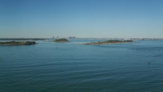 AX142_277 - 6K stock footage aerial video flying by islands, Boston Harbor, Massachusetts