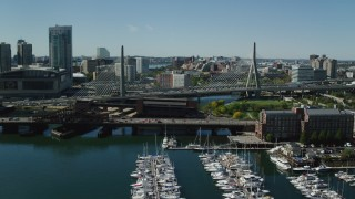 AX142_299 - 6K stock footage aerial video flying over Charlestown Bridge, approaching Zakim Bridge, Massachusetts