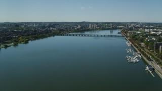 AX142_304 - 6K stock footage aerial video flying over Charles River, approach Harvard Bridge, Boston, Massachusetts