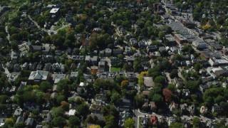 AX142_312 - 6K stock footage aerial video flying over suburban residential neighborhoods, Jamaica Plain, Massachusetts