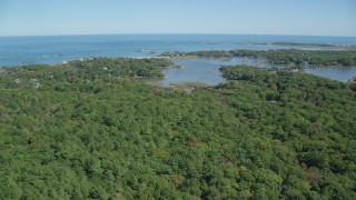 AX143_024 - 6K stock footage aerial video flying over forest, approach small coastal community, autumn, Cohasset, Massachusetts