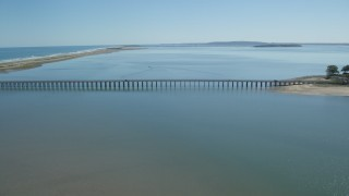 AX143_067 - 6K stock footage aerial video flying by Powder Point Bridge, Duxbury, Massachusetts