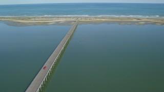 AX143_068 - 6K stock footage aerial video orbiting the Powder Point Bridge, Duxbury, Massachusetts