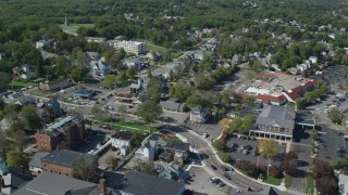 AX143_092 - 6K stock footage aerial video panning by a small coastal town, Plymouth, Massachusetts