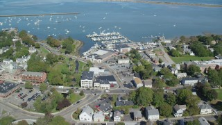 AX143_095 - 6K stock footage aerial video flying over Plymouth Harbor, approach marina, Plymouth, Massachusetts