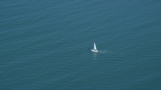 AX143_126 - 6K stock footage aerial video tracking sailing boat on Cape Cod Bay, Massachusetts