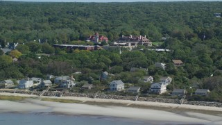 AX143_176 - 6K stock footage aerial video flying by Nickerson Mansion, Ocean Edge Resort, Cape Cod, Brewster, Massachusetts