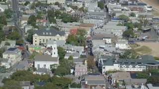 AX143_236 - 6K stock footage aerial video of Unitarian Universalist Meeting House, Provincetown Town Hall, Provincetown, Massachusetts