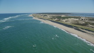 AX144_009 - 6K stock footage aerial video flying by waves crashing, beach, Cape Cod, Truro, Massachusetts
