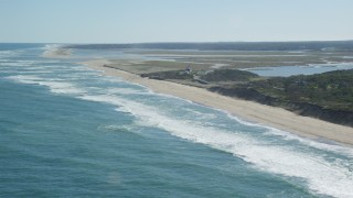 AX144_031 - 6K stock footage aerial video panning right by Coast Guard Beach, Cape Cod, Eastham, Massachusetts