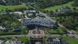 AX144_048 - 6K stock footage aerial video flying by Chatham Bars Inn, Cape Cod, Chatham, Massachusetts