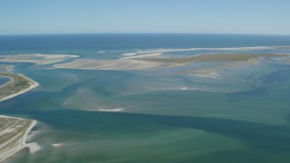 AX144_055 - 6K stock footage aerial video flying by North Monomoy Island, sand bars, Chatham, Massachusetts