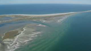 AX144_058 - 6K stock footage aerial video flying by sand bars at low tide and Monomoy Island, Massachusetts
