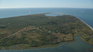 AX144_117 - 6K stock footage aerial video approaching homes on Tuckernuck Island, Nantucket, Massachusetts