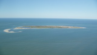 AX144_122 - 6K stock footage aerial video flying by Muskeget Island, Nantucket, Massachusetts