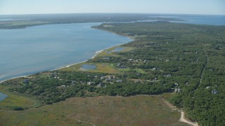 AX144_126 - 6K stock footage aerial video of homes near Katama Bay, Chappaquiddick Island, Martha's Vineyard, Massachusetts