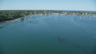 AX144_133 - 6K stock footage aerial video flying over Katana Bay, approaching Edgartown, Martha's Vineyard, Massachusetts