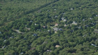AX144_149 - 6K stock footage aerial video of Island homes, forest, Edgartown, Martha's Vineyard, Massachusetts