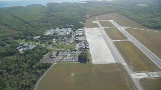 AX144_152 - 6K stock footage aerial video flying over Martha's Vineyard Airport, West Tisbury, Massachusetts