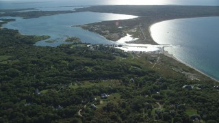 AX144_159 - 6K stock footage aerial video approaching Menemsha Pond, Chilmark, Martha's Vineyard, Massachusetts