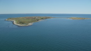 AX144_179 - 6k stock footage aerial video of Pekinese Island School, Penikese Island, Elisabeth Islands, Massachusetts