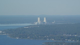 AX144_223 - 6k stock footage aerial video flying by Dynegy Brayton Point coal-fired power plant, Somerset, Massachusetts