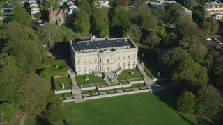 AX144_245 - 6k stock footage aerial video flying by The Elms, a historic mansion, Newport, Rhode Island