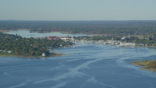 AX145_015 - 6k stock footage aerial video flying by small coastal town, waterfront homes, Warren, Rhode Island