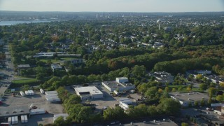 AX145_027 - 6k aerial stock footage video approaching, flying over suburban neighborhood, East Providence, Rhode Island
