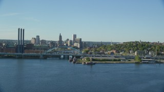 AX145_032 - 6k stock footage aerial video approaching Providence River Bridge and Downtown Providence, Rhode Island