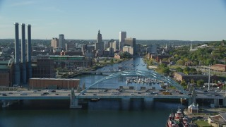 AX145_033 - 6k stock footage aerial video flying over Providence River Bridge, approaching Downtown Providence, Rhode Island