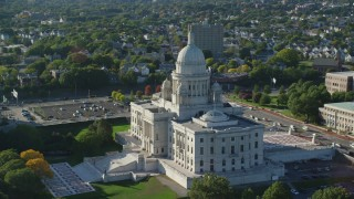 AX145_039 - 6k stock footage aerial video flying by the Rhode Island State House, Providence, Rhode Island