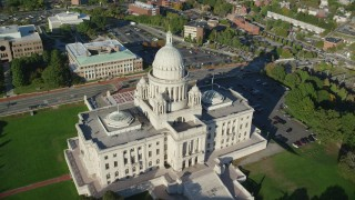 AX145_041 - 6k stock footage aerial video orbiting the Rhode Island State House, Providence, Rhode Island
