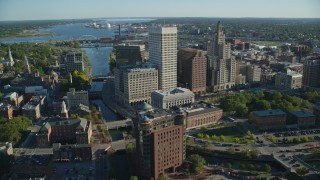 AX145_042 - 6k stock footage aerial video orbiting downtown skyscrapers, Downtown Providence, Rhode Island