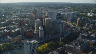 AX145_045 - 6k stock footage aerial video orbiting downtown buildings and skyscrapers, Downtown Providence, Rhode Island