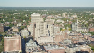 AX145_049 - 6k stock footage aerial video orbiting skyscrapers, 111 Westminster Street, Downtown Providence, Rhode Island